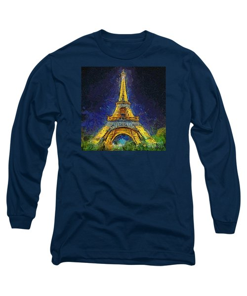 Long Sleeve T-Shirt featuring the painting Paris By Night by Dragica  Micki Fortuna