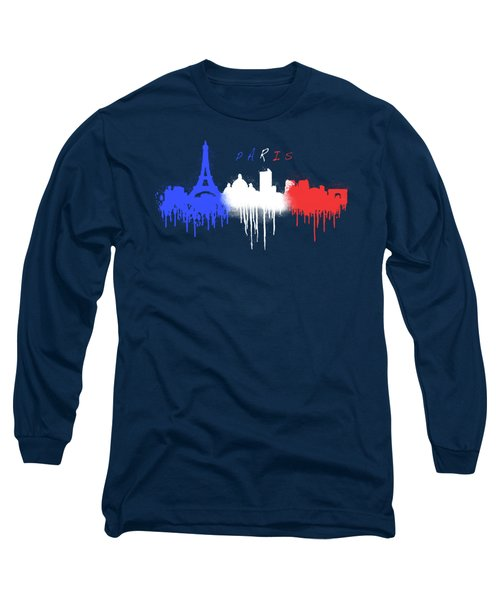 Paris Skyline  Long Sleeve T-Shirt by Solomon Barroa