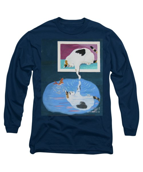 Long Sleeve T-Shirt featuring the painting Paws And Effect by Phyllis Kaltenbach
