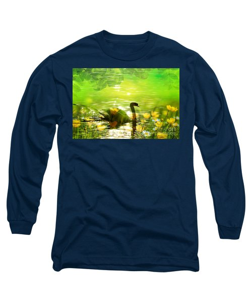 Peaceful Swan In Lake With Flowers Long Sleeve T-Shirt by Annie Zeno