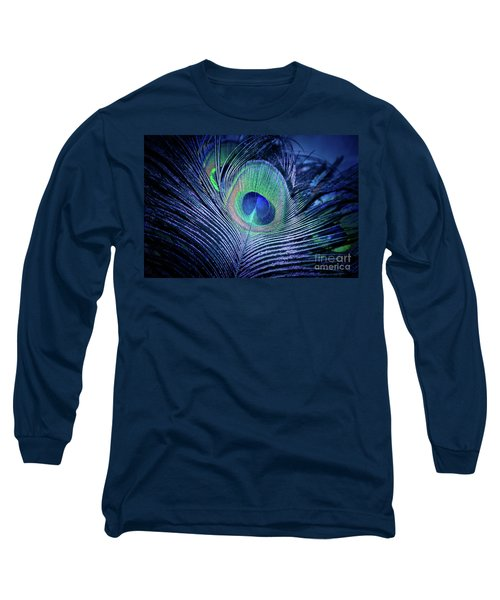Long Sleeve T-Shirt featuring the photograph Peacock Feather Blush by Sharon Mau
