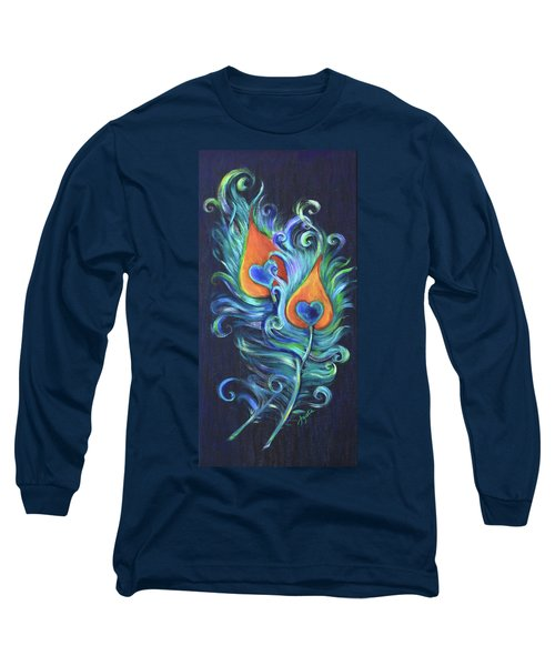Long Sleeve T-Shirt featuring the painting Peacock Feathers by Agata Lindquist