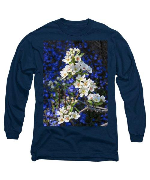 Pear Blossoms And Georgia Blue 2 Long Sleeve T-Shirt by Brooks Garten Hauschild