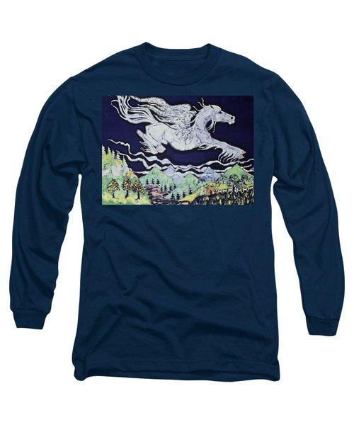 Pegasus Flying Over Stream Long Sleeve T-Shirt