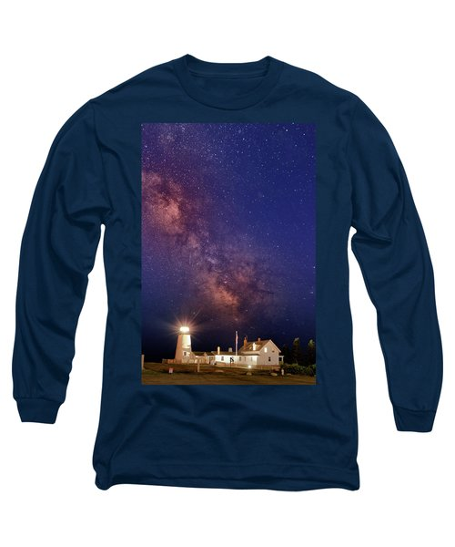 Pemaquid Point Lighthouse And The Milky Way Long Sleeve T-Shirt