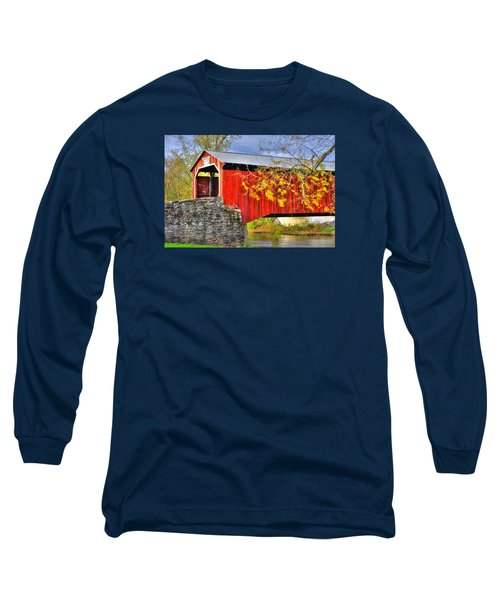 Pennsylvania Country Roads - Dellville Covered Bridge Over Sherman Creek No. 13 - Perry County Long Sleeve T-Shirt