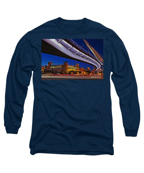 Petco Park And The Harbor Drive Pedestrian Bridge In Downtown San Diego  Long Sleeve T-Shirt by Sam Antonio Photography