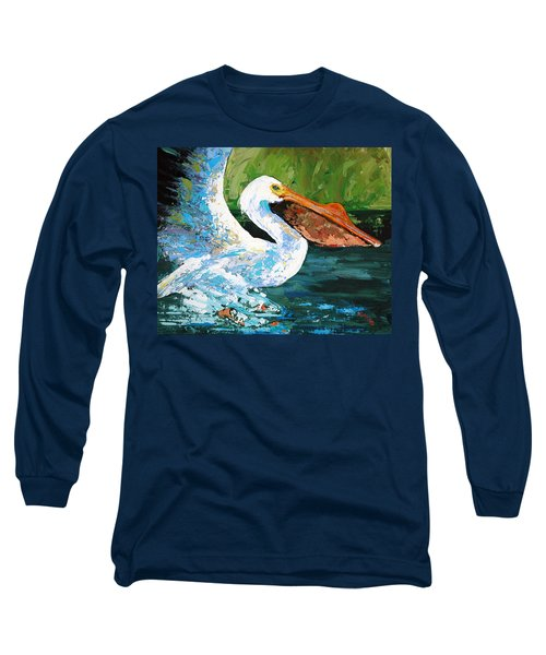 Long Sleeve T-Shirt featuring the painting Pete Coming In For A Landing by Suzanne McKee