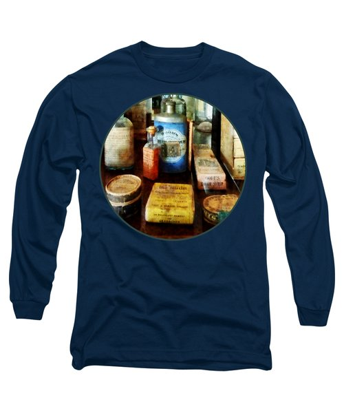 Long Sleeve T-Shirt featuring the photograph Pharmacy - Cough Remedies And Tooth Powder by Susan Savad