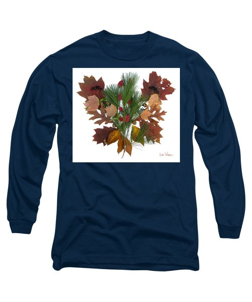 Long Sleeve T-Shirt featuring the digital art Pine And Leaf Bouquet by Lise Winne