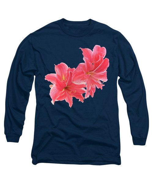 Pink Amaryllis On Black Long Sleeve T-Shirt