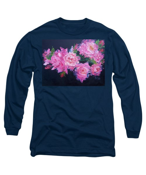Pink Roses Oil Painting Long Sleeve T-Shirt