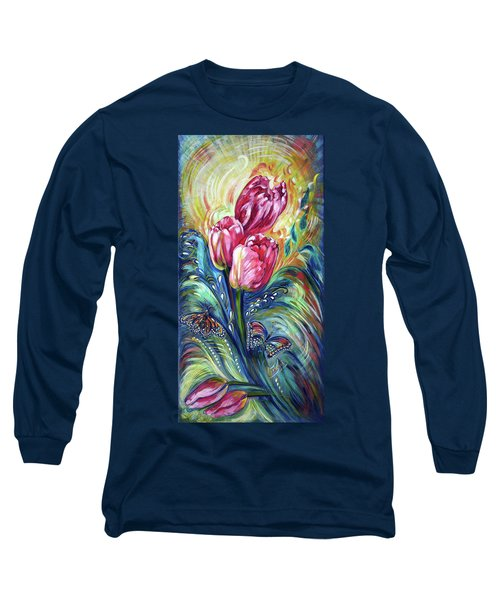 Pink Tulips And Butterflies Long Sleeve T-Shirt by Harsh Malik