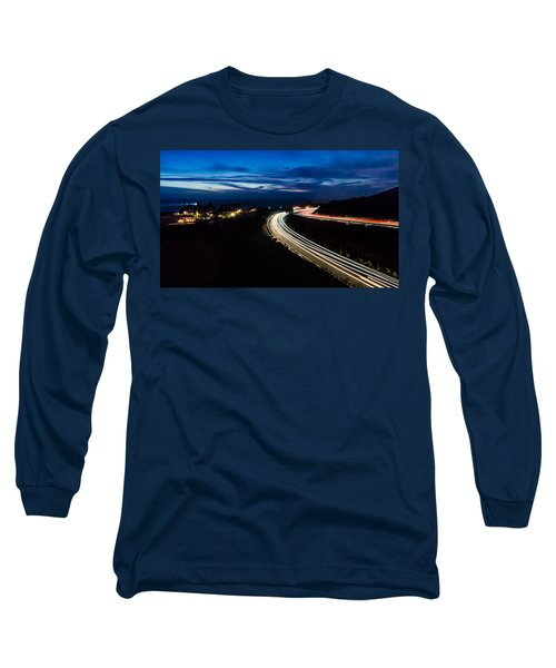 Point Vincente Light Trails Long Sleeve T-Shirt by Ed Clark