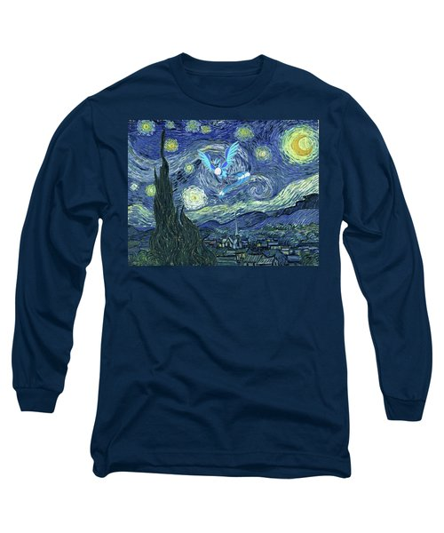 Long Sleeve T-Shirt featuring the digital art Pokevangogh Starry Night by Greg Sharpe