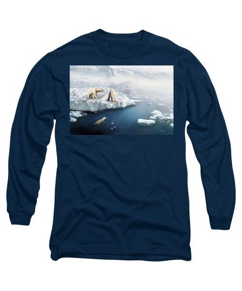 Long Sleeve T-Shirt featuring the digital art Polar Bears by Thanh Thuy Nguyen