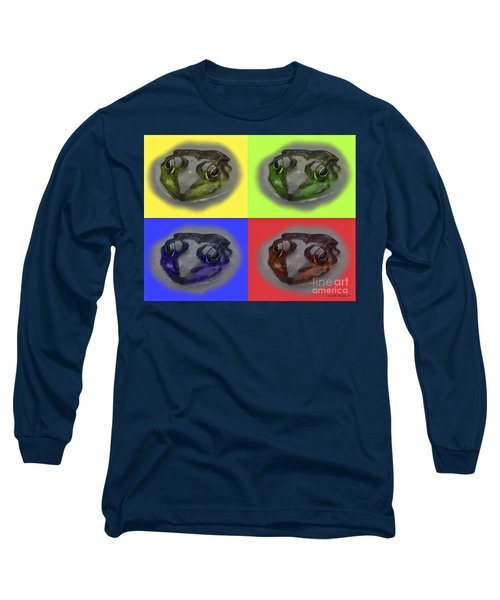 Pop Art Frog Face Long Sleeve T-Shirt by Carol F Austin