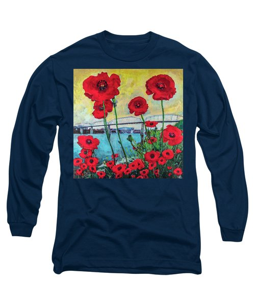 Poppies Along The Riverfront Long Sleeve T-Shirt