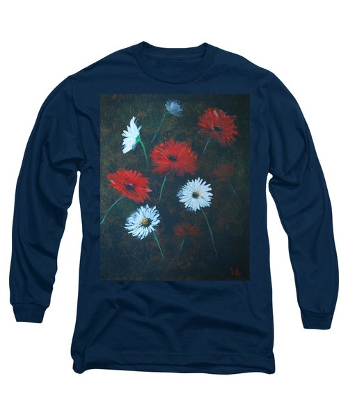 Long Sleeve T-Shirt featuring the painting Poppin Daisies by Leslie Allen