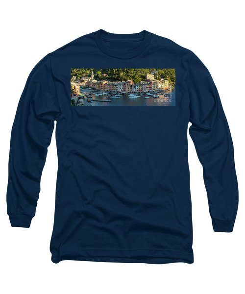 Long Sleeve T-Shirt featuring the photograph Portofino Morning Panoramic II by Brian Jannsen