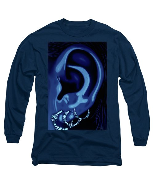 Portrait Of My Ear In Blue Long Sleeve T-Shirt