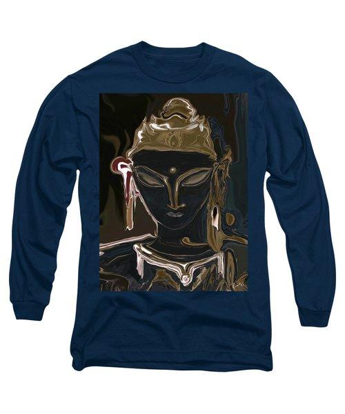 Long Sleeve T-Shirt featuring the digital art Portrait Of Vajrasattva by Rabi Khan
