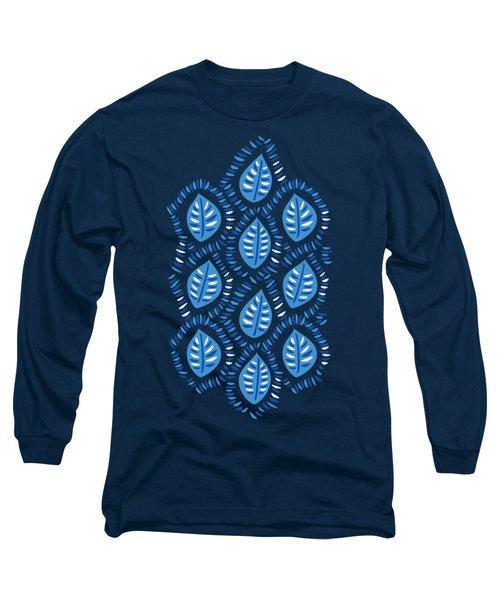 Pretty Decorative Blue Leaves Pattern Long Sleeve T-Shirt