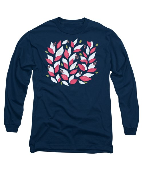 Pretty Plant With White Pink Leaves And Ladybugs Long Sleeve T-Shirt