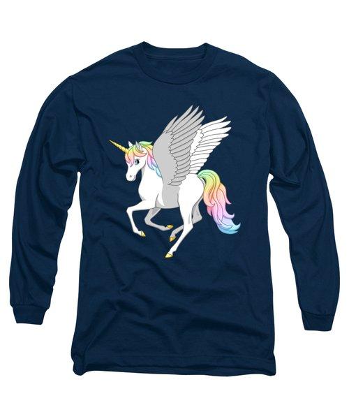 Pretty Rainbow Unicorn Flying Horse Long Sleeve T-Shirt