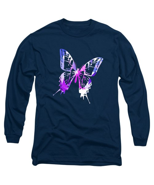 Purple Abstract Paint Pattern Long Sleeve T-Shirt