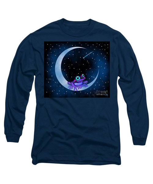 Long Sleeve T-Shirt featuring the painting Purple Frog On A Crescent Moon by Nick Gustafson