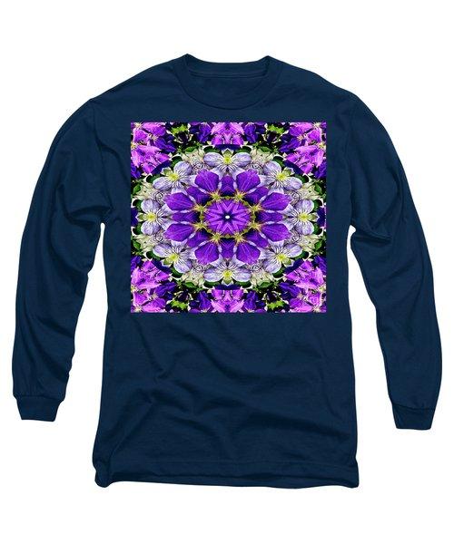 Purple Passion Floral Design Long Sleeve T-Shirt