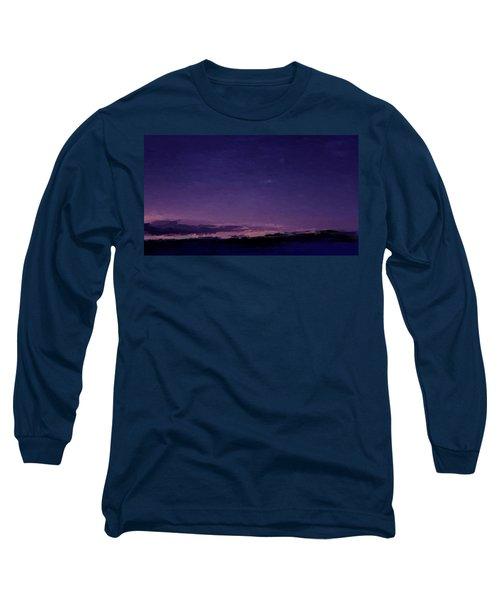 Purple Sunset Over Beach  Long Sleeve T-Shirt
