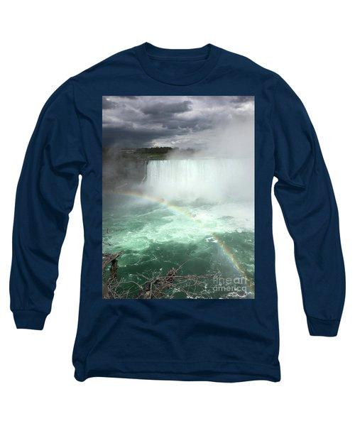 Rainbow Over Niagara Falls Long Sleeve T-Shirt