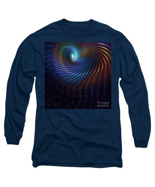 Long Sleeve T-Shirt featuring the digital art Rainbow Swirl by Deborah Benoit