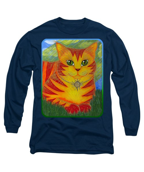 Long Sleeve T-Shirt featuring the painting Rajah Golden Sun Cat by Carrie Hawks