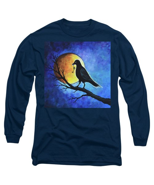 Long Sleeve T-Shirt featuring the painting Raven With Key by Agata Lindquist