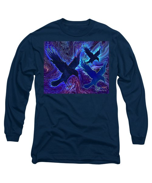 Long Sleeve T-Shirt featuring the painting Ravens On Blue by Teresa Ascone