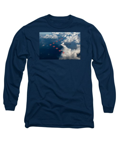 Red Arrows And Vulcan Above Clouds Long Sleeve T-Shirt