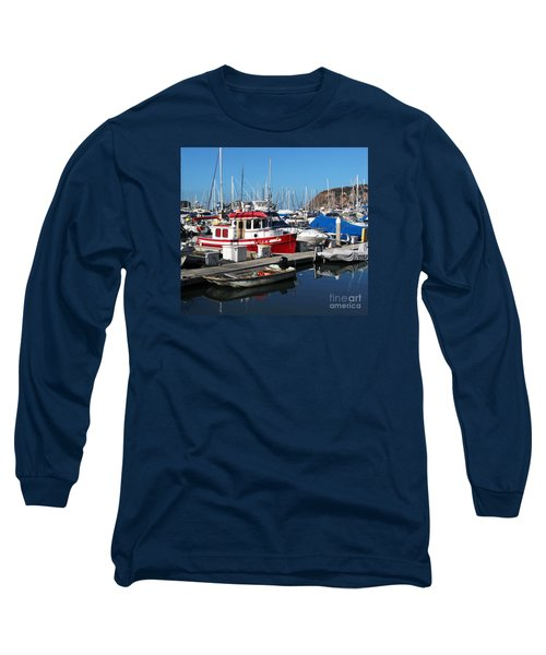 Red Boat Long Sleeve T-Shirt by Cheryl Del Toro