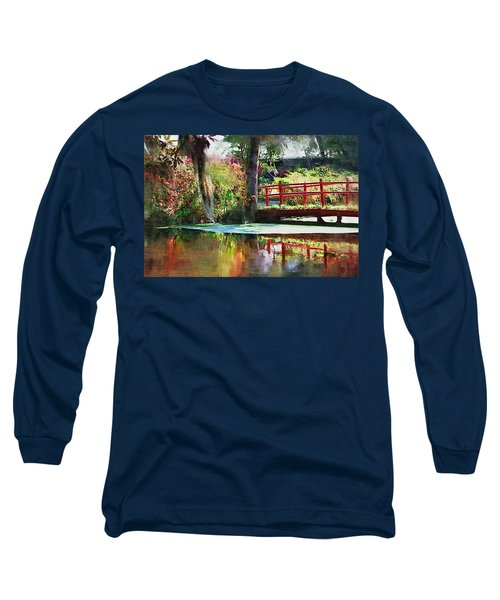 Red Bridge Long Sleeve T-Shirt by Donna Bentley