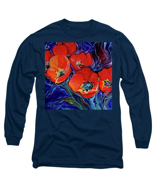 Red Floral Abstract Long Sleeve T-Shirt by Marcia Baldwin