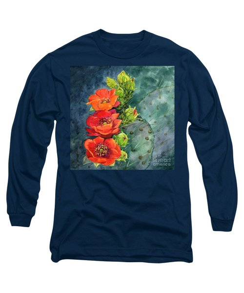 Red Flowering Prickly Pear Cactus Long Sleeve T-Shirt