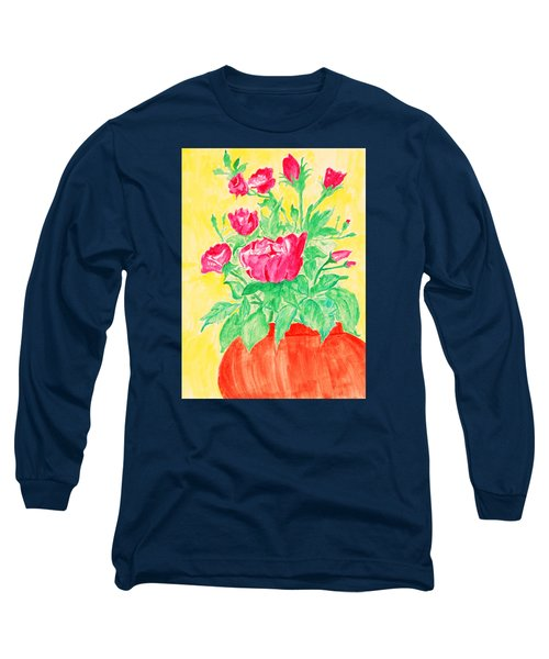 Red Flowers In A Brown Vase Long Sleeve T-Shirt by Jose Rojas