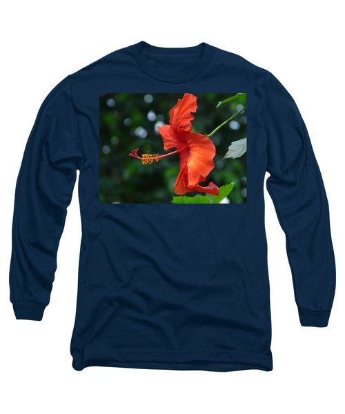 Red Hibiscus Long Sleeve T-Shirt by Valerie Ornstein