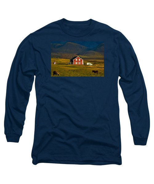 Red House And Horses - Iceland Long Sleeve T-Shirt by Stuart Litoff