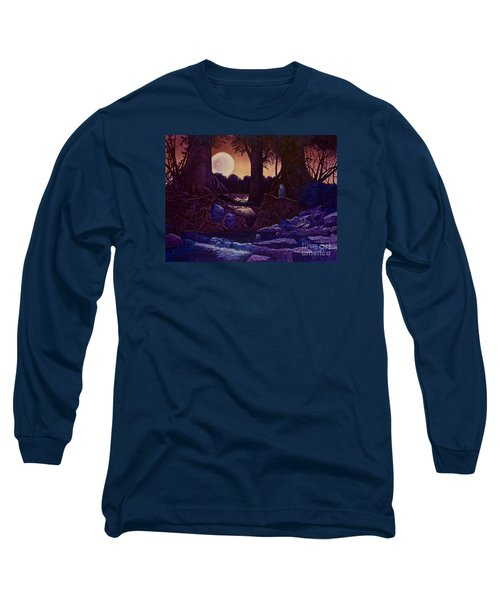 Red Moon Long Sleeve T-Shirt by Michael Frank