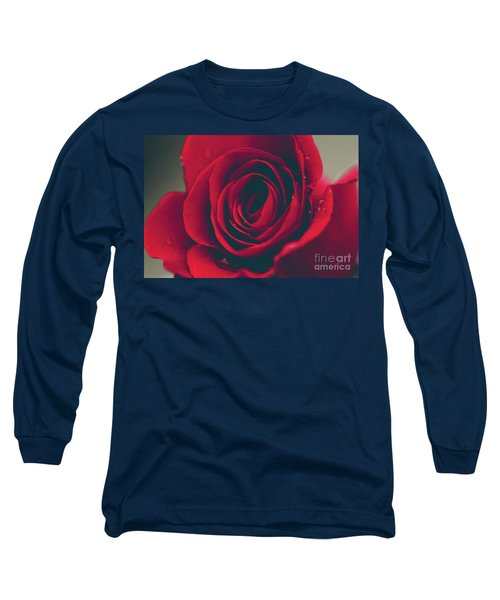 Long Sleeve T-Shirt featuring the photograph Red Rose Floral Bliss by Sharon Mau