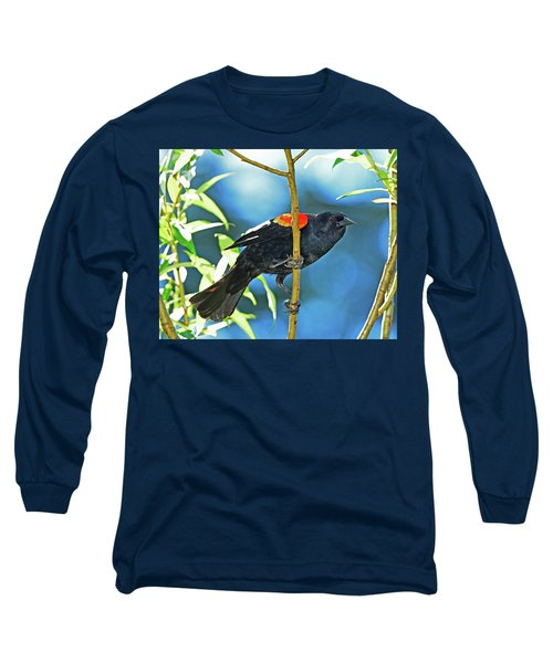 Long Sleeve T-Shirt featuring the photograph Redwing Blackbird by Jack Moskovita