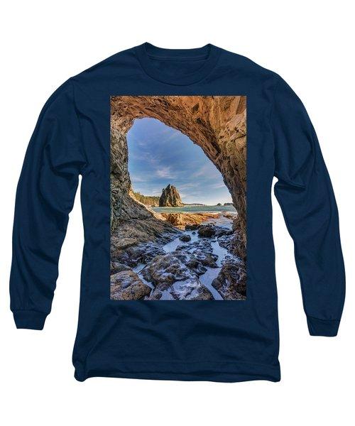 Rialto Beach Sea Arch Long Sleeve T-Shirt by Pierre Leclerc Photography